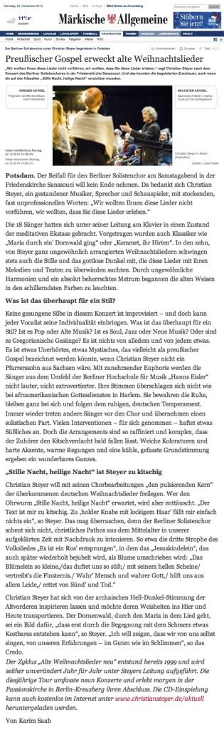 Preußischer Gospel erweckt Weihnachtslieder_Maerkische Allgemeine